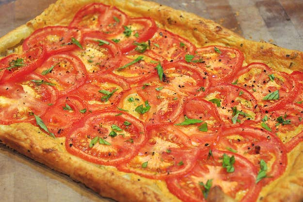 One sheet of puff pastry + tomatoes + spices = a tasty meal. Get the recipe here.