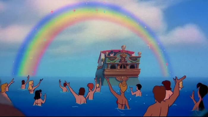 Image result for ariel and eric wedding with rainbow