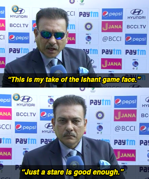 Meanwhile, Ravi Shastri went conceptual for his recreation.