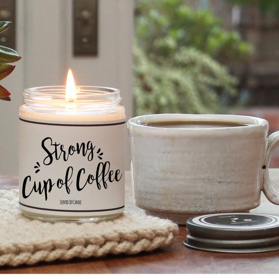 "Promising Review: ""Amazing! Smells exactly like a coffee shop. You could smell the candle through the packaging. The packaging was super cute and very well wrapped! Will be getting more!"" —amyliaruybalGet it from Hello You Candle Greetings on Etsy for $15."