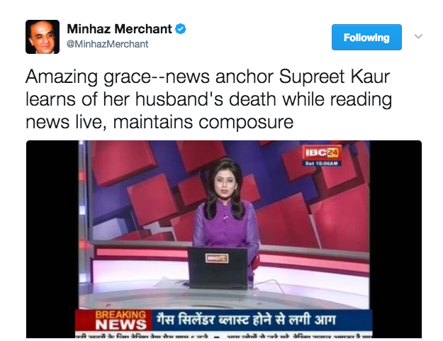 """People praised Kaur for her """"amazing grace"""" and composure after learning about her husband's death."""