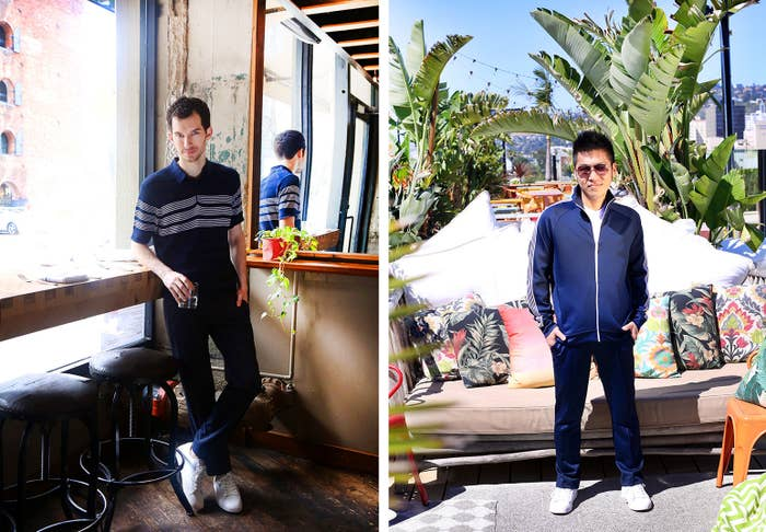 Wearing (left): Striped sweater polo and slim fit active tech pants. Wearing (right): Full zip track jacket, sport crew shirt, drawstring sport long pants, and aviator sunglasses.