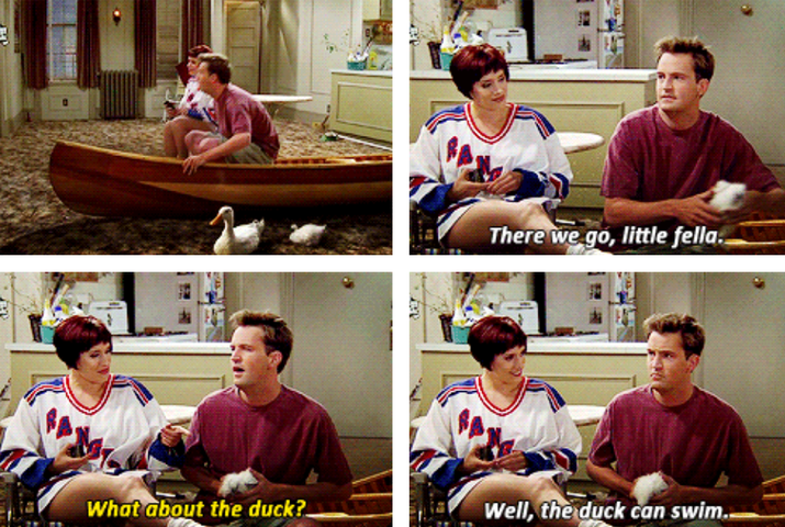 Chandler: There we go, little fella.Kathy: What about the duck?Chandler: Well, the duck can swim.Suggested by Marc Heimann, Facebook