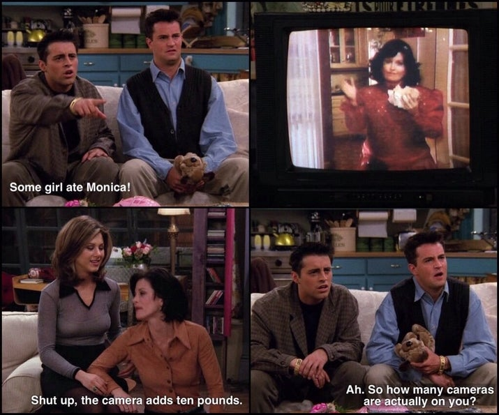 Joey: Some girl ate Monica!Monica: Shut up, the camera adds 10 pounds.Chandler: Ah. So how many cameras are actually on you?Suggested by sophiabethh