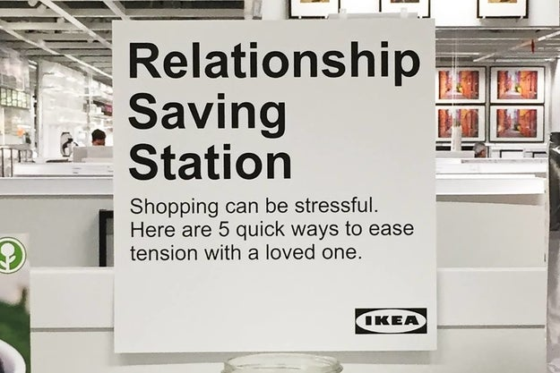"""But now, comedian Jeff Wysaski has installed a """"Relationship Saving Station"""" at his local Ikea that will help you cope with all that Billy bookcase-induced stress."""