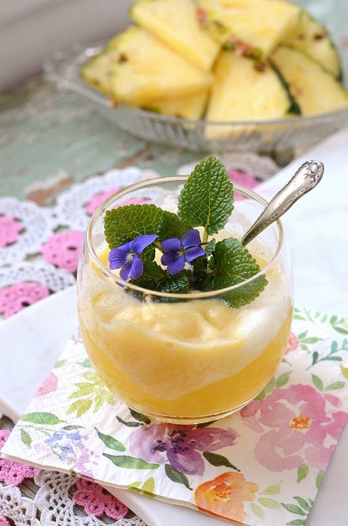 If you want to make this fruity sorbet at home, you don't even need an ice cream maker. Just pulse agave, pineapple juice and pineapple in a blender, then let it freeze overnight. Get the recipe.