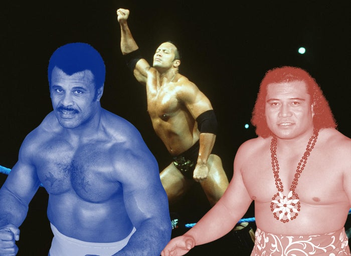 Left: Rocky Johnson; Center: Johnson as The Rock; Right: High Chief Peter Maivia.