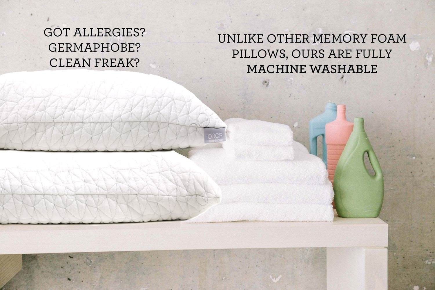 a memory foam pillow you can adjust by adding and removing foam also itu0027s machine washable