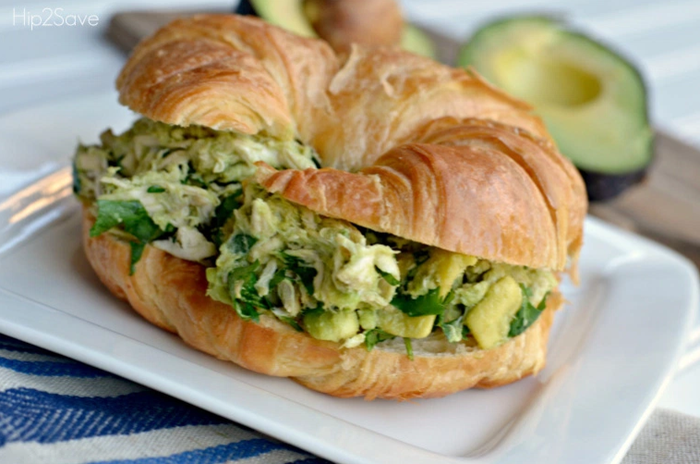 Mix shredded chicken (rotisserie is easiest), a chopped avocado, and 1/4 cup of cilantro. You can eat it plain or put it in a croissant to make a sandwich. Via Hip2Save.