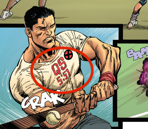 The first panel with a hidden message shows a group of X-Men playing baseball, focusing on Colossus as he hits the ball.