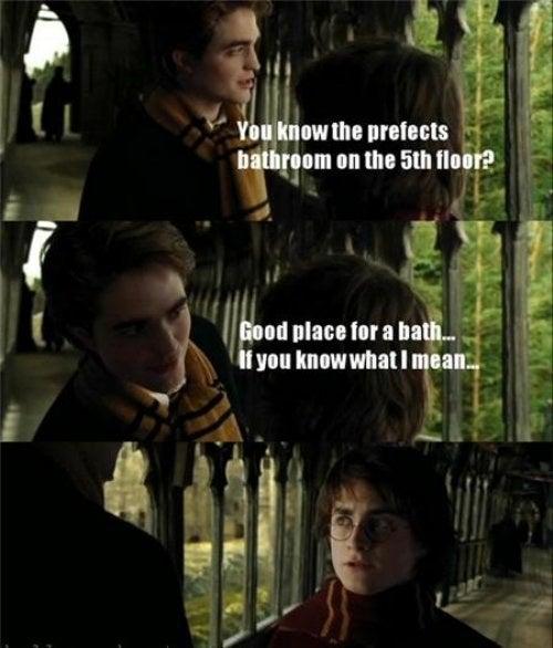 'El hecho de que Harry le hablara directamente a Cedric sobre los dragones ('Dragones. Esa es la primera tarea') y a cambio Cedric solo le diera *pistas* sobre un huevo y bañarse. ¿Harry ni siquiera puede deducir que 'nadar mucho tiempo es la segunda tarea' o al menos 'pon el huevo bajo el agua para escucharlo'?'—rachelsr