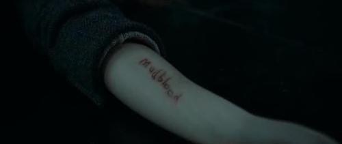'Tengo uno que me sorprende bastante que nadie más haya mencionado: la marca de 'Sangre Sucia' de Hermione. Según los libros, la única marca que Bellatrix dejó en Hermione fue un corte en el cuello. Comprendo que es un buen momento dramático en las películas, pero ahora cualquier fanfiction se aferra a esa cicatriz de 'Sangre Sucia' y siento vergüenza ajena en cada ocasión'.—laurieisnotlori