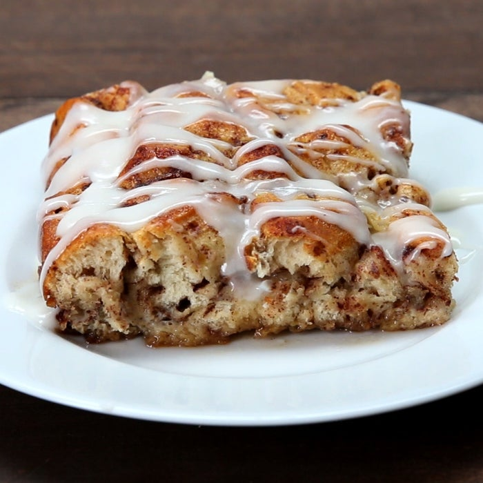 Servings: 8-10INGREDIENTS2 tubes refrigerated cinnamon rolls with icing4 tablespoons butter, melted6 eggs½ cup milk2 teaspoons cinnamon2 teaspoons vanilla1 cup maple syrupPREPARATION1. Pour the butter on the bottom of a 9x13 glass baking dish. 2. Cut each cinnamon roll into 8 pieces, and spread evenly over the butter.3. In a separate bowl, whisk the eggs, milk, cinnamon, and vanilla, and pour over the cinnamon rolls. 4. Pour 1 cup of maple syrup over the mixture. 5. Bake at 375°F/190°C for 25 minutes. Top with the icing from the cinnamon rolls.