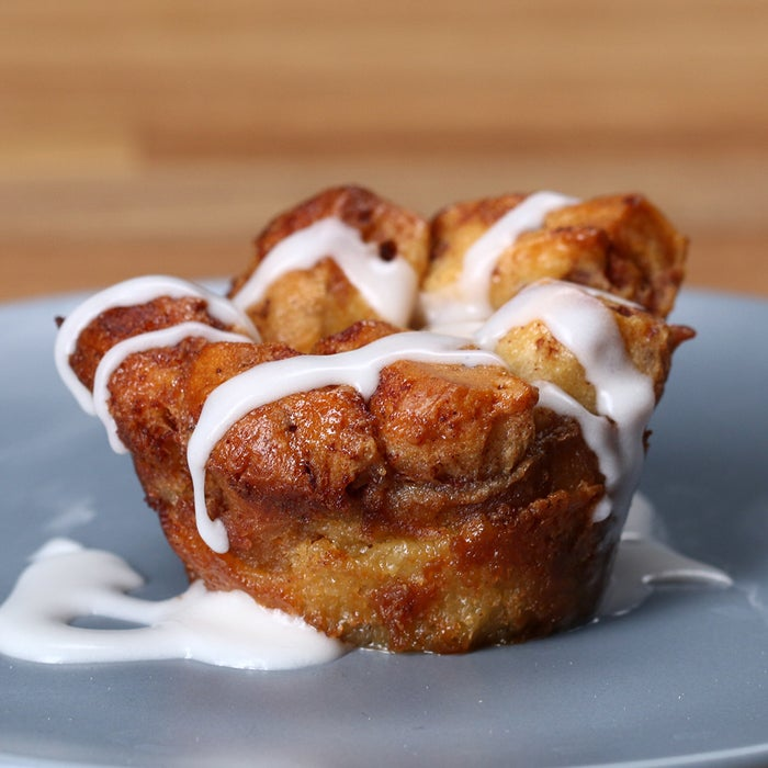 Servings: 12 INGRIDIENTS6 eggs½ cup milk½ cup heavy cream2 teaspoons vanilla extract2 teaspoons cinnamon½ cup sugar2 packs cinnamon rollsPREPARATION1. In a medium bowl, mix eggs, milk, cream, vanilla extract, cinnamon, and sugar.2. Cut each cinnamon roll into 8 pieces, and stuff inside a greased muffin tin. Pour batter in each tin about ¾ of the way. If you pour too much, the tin will overflow in the oven.3. Cover the tin and refrigerate for at least 2 hours, letting the cinnamon roll absorb the mixture.4. Bake at 350˚F/175˚C for 35 minutes.5. Remove the muffin from the tin, top with icing, and serve warm. Enjoy!