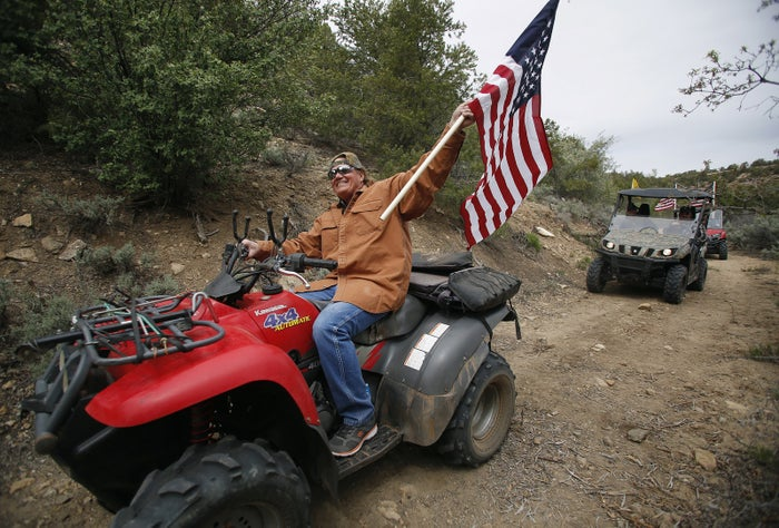 Protesters ride though Recapture Canyon on May 10, 2014.