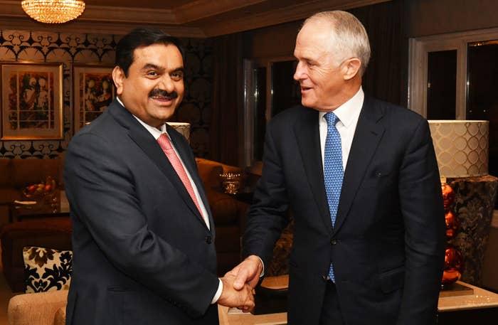 Malcolm Turnbull meets Gautham Adani.