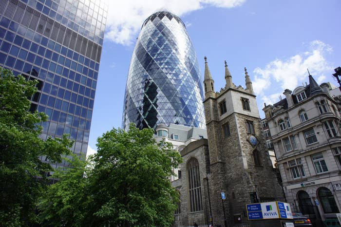 The Gherkin and the St Andrew Undershaft church.