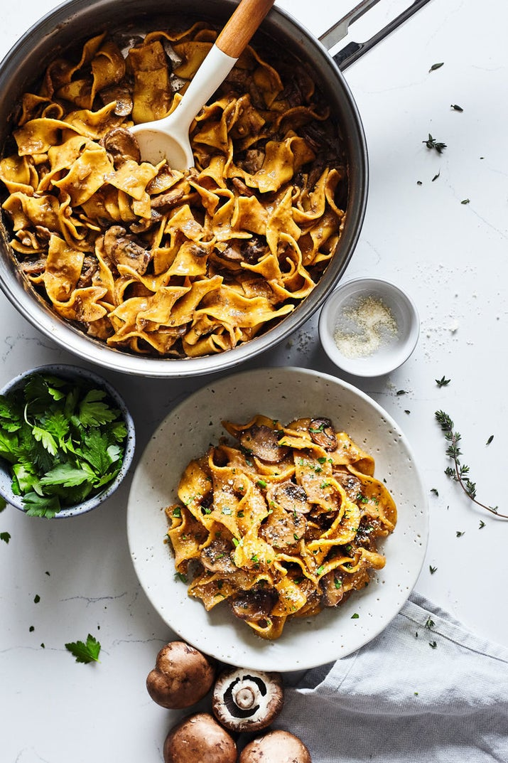 No beef here, just lots and lots of savory cremini mushrooms. Vegetable broth and almond milk add an element of richness to the whole dish. Get the recipe.