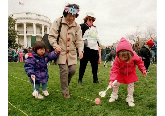 That activity was first introduced by the Nixons in 1974. Before that, other egg games included egg tossing and egg croquet.