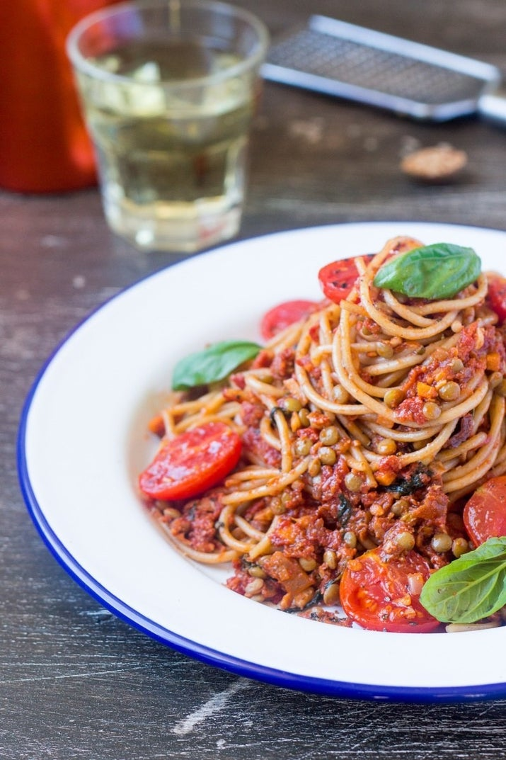 This ain't your grandma's spaghetti, but it's protein-packed with a sauce made of sun-dried tomatoes, walnuts and lentils. Get the recipe.