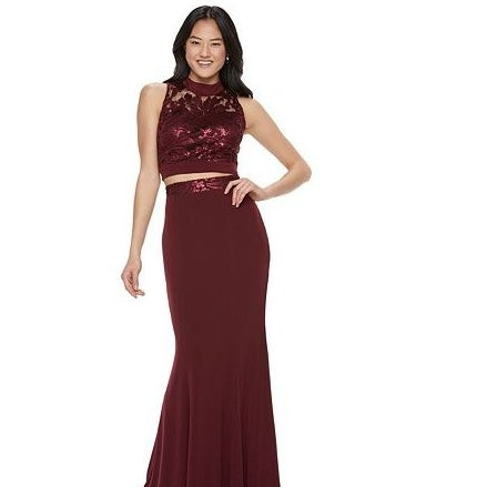 dda55def0 Opt for a unique twist on a classic prom look with this sequin embroidered  two-piece dress.