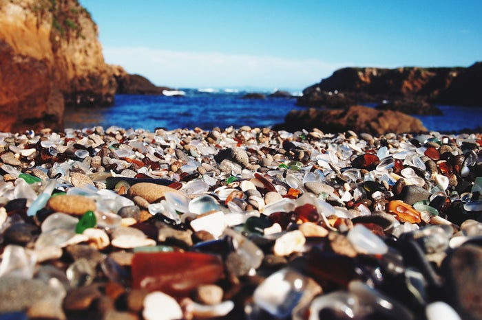 The former site of a trash dump, this beach gets its name from the colorful shards of bottles and cans that now adorn the scenery.
