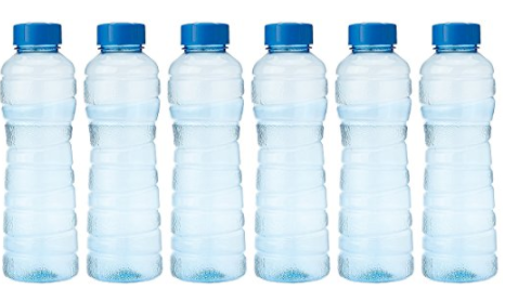 Six blue PET fridge bottles