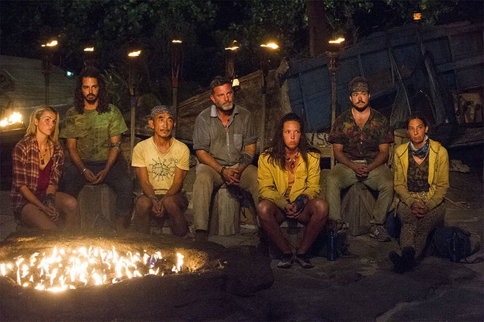 Survivor contestants including Varner, center, and Smith, second from right, in Wednesday's episode.