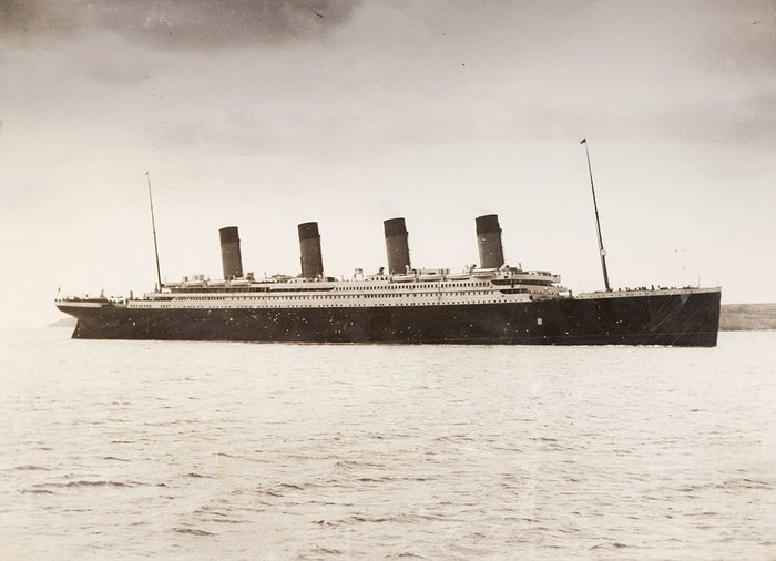 The RMS Titanic Of The White Star Line makes its way from Southampton to Queenstown, Ireland in 1912.