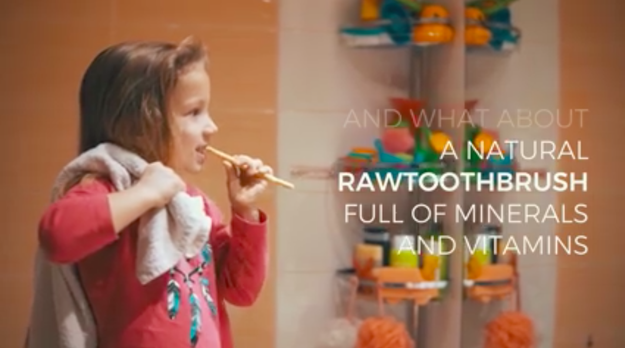 """A Czech company named Yoni recently posted a video about a """"revolutionary"""" new product called the Raw Toothbrush, full of ~ minerals and vitamins ~."""