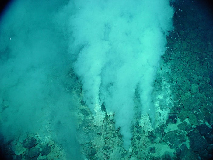 """White smoker"" hydrothermal vents on Earth."