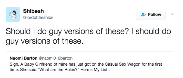 Casual hookup rules