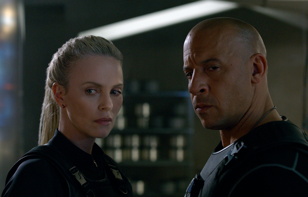 The plot of Fate of the Furious is that Dom (Vin Diesel) has betrayed the team and paired up with cyberterrorist Cipher (Charlize Theron), who is always one step ahead of them. And it's revealed that's because she kidnapped his infant son — a child Dom never knew existed!