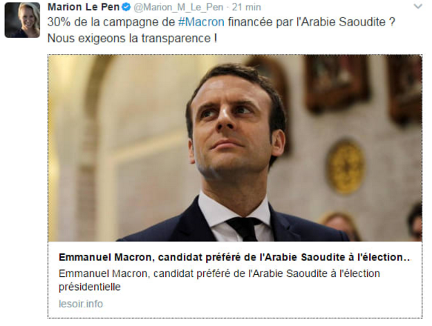 In early March, the fake news website lesoir.info published an article about the supposed funding of Macron's campaign by Saudi Arabia. The site is designed to look like an actual Belgian newspaper called lesoir.be, which quickly denounced the story as fake. Other news sites also shared the story before back-pedaling after Soir's denial. Marion Maréchal-Le Pen, a National Front MP and the niece of National Front candidate Marine Le Pen, tweeted the story as well but later deleted it.