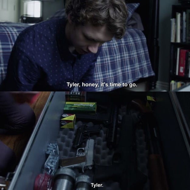 If you recall, Tyler was bullied throughout the whole show, and at the end, he has a shitload of guns.