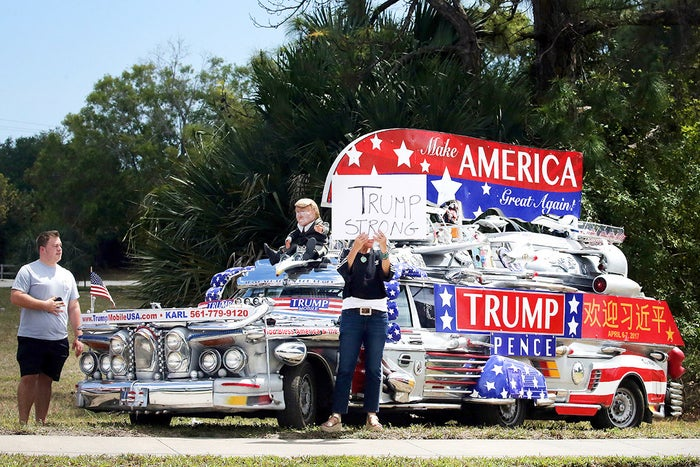 Trump supporters gather outside the Trump International Golf Club in West Palm Beach, Florida, on April 8.