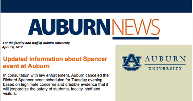 "The school released a statement on Friday, announcing Spencer's speech had been canceled due to ""legitimate concerns and credible evidence that it will jeopardize the safety of students, faculty, staff, and visitors."""