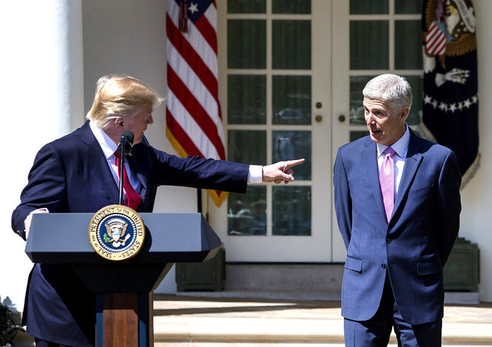 President Donald Trump celebrates the ceremonial swearing-in of Neil Gorsuch as the 113th Supreme Court justice in the Rose Garden at the White House on April 10, following a private ceremony at the Supreme Court.