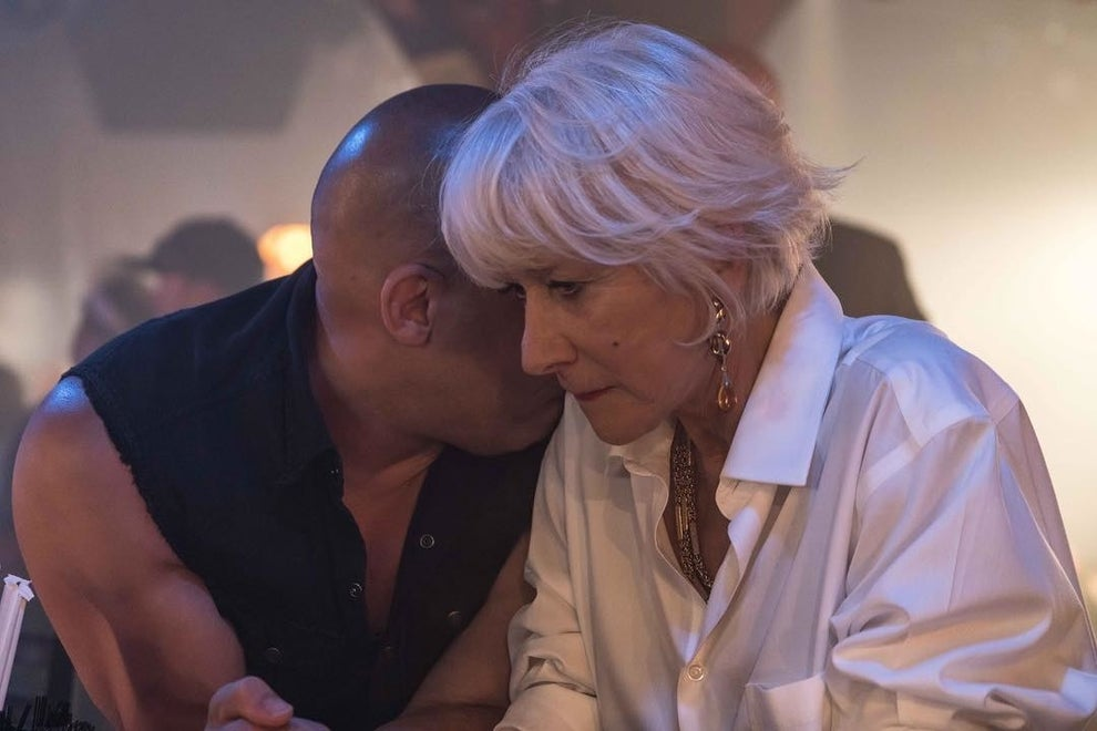Dame Helen Mirren appears in not one, but two scenes in The Fate of the Furious and she easily steals them with her icy glare alone. The Oscar-winning actor plays the matriarch of the villainous Shaw family, mum to Deckard (Jason Statham) and Owen (Luke Evans).