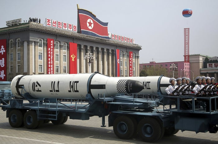 A submarine-launched ballistic missile is displayed during a military parade Saturday in Pyongyang, North Korea.