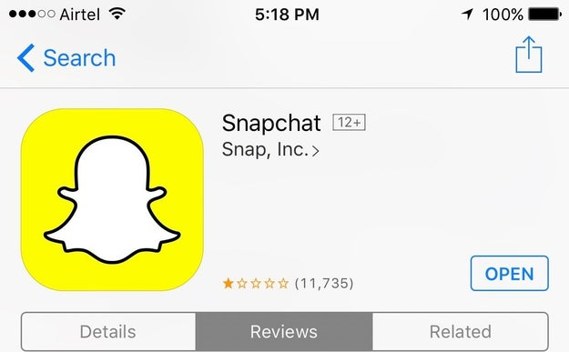 Over the weekend, however, Indians battered the Snapchat app with angry reviews and poor ratings in the Indian App Store.
