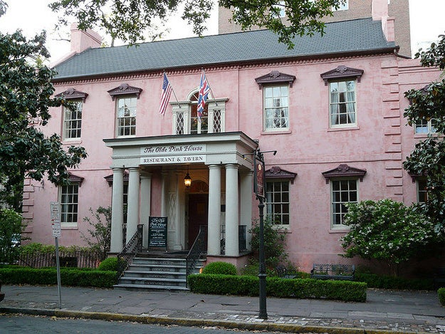 This glorious old pink mansion in Savannah, Georgia, that's also a fancy restaurant.