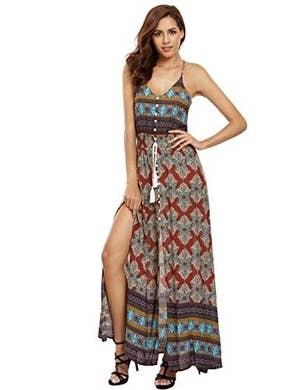 018bb7970e3 A boho dress with a tie waist and racerback guaranteed to make appearances  all summer long.