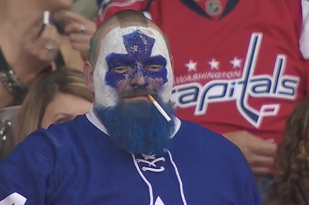 This Leafs Fan Became A Hilarious Meme After Cameras Caught Him With A Dart In His Mouth
