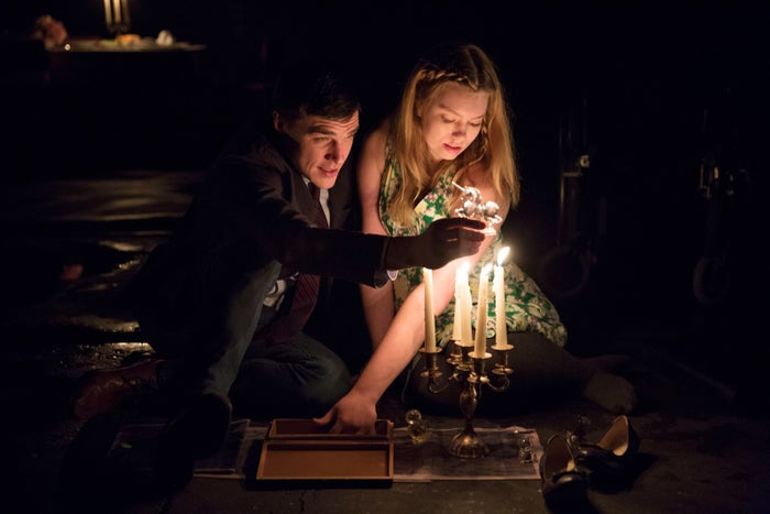 Madison Ferris as Laura in The Glass Menagerie, with Finn Wittrock as Jim O'Connor.
