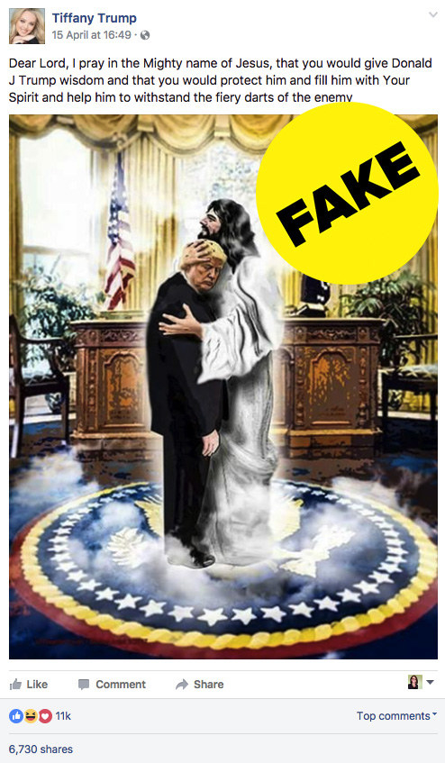 To mark the Easter festivities, an unverified Tiffany Trump Facebook page posted an image of President Trump being held by Jesus in the oval office.
