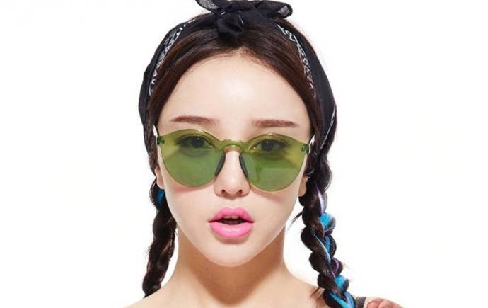 """Promising Review: """"AMAZING SUNGLASSES! THESE ARE FRESH AS HECK AND LOOK EXACTLY LIKE THE PICTURE. Thick plastic, nice case and packaging."""" —Kira R. Get them from Amazon for $16.99 / Available in six shades."""