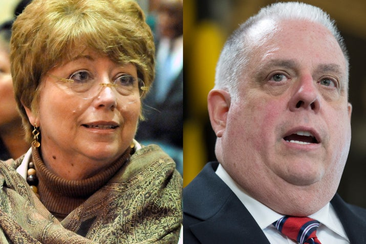 Maryland Delegate Kathleen Dumais and Governor Larry Hogan.