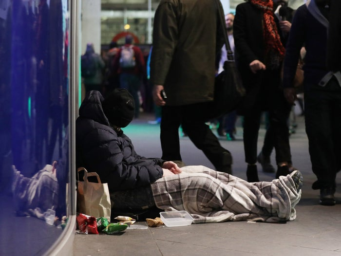 A homeless man in Victoria, London
