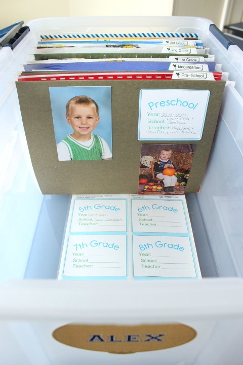 Put together a school memories box for each of your kids' best or most special work from every year.